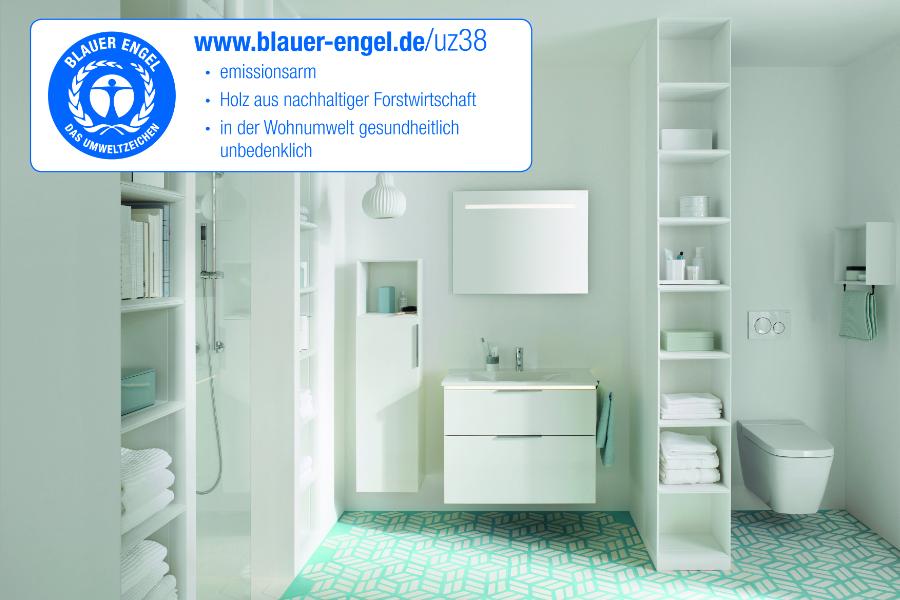 Kollektion Eqio von burgbad mit dem Nachhaltigkeits-Logo Blauer Engel