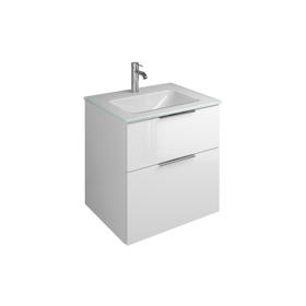 Plan de toilette en verre avec meuble sous-vasque SEYX062 ...