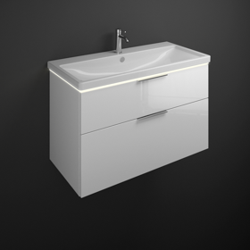 Relativ Keramik-Waschtisch inkl. Waschtischunterschrank mit LED DL15