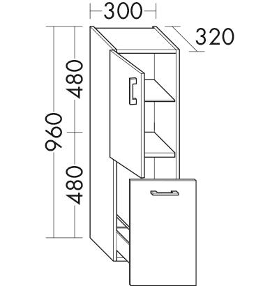 halbhoher schrank uh3030 badm bel serie sys30 echo burgbad. Black Bedroom Furniture Sets. Home Design Ideas