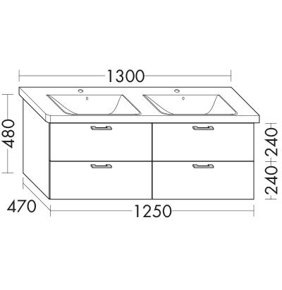waschtischunterschrank zu ideal standard connect e8136xx e8158xx wumk125 badm bel serie. Black Bedroom Furniture Sets. Home Design Ideas